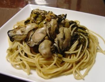 牡蠣と広島菜のパスタ